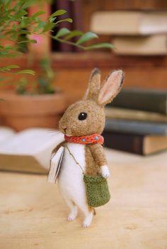 Needle felted wild rabbit with a book/handmade/poseable/decoration/gift/soft sculpture/ornament/ooak Needle Felting Kits, Needle Felted Animals, Wet Felting, Felt Animals, Felt Fox, Felt Bunny, Wool Felt, Wild Rabbit, Felt Mouse