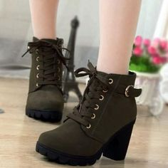 Available Sizes :EUR35;EUR36;EUR37;EUR38;EUR39 Shaft Height :8.5cm Heel Height :8.5cm Platform Height :1.7cm Heel Height :High Heel Type :Chunky Boot Shaft :Ankle Toe :Round Shoe Vamp :PU Leather Closure :Zipper