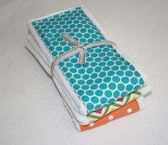 Baby Burp Cloths Set of 3 Bright Aqua and Orange by mypoplin, $14.00