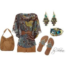 peacock paisley belted kimono, created by shauna-rogers on Polyvore