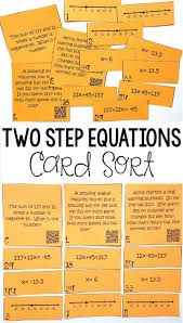 This was so much FUN! My Grade Math students loved this two step equation card sort activity. This was so much more fun than the typical grade math worksheet. I loved how the students had to match the two step equation to the word problem and t Math Teacher, Math Classroom, Teaching Math, 8th Grade Math Worksheets, 7th Grade Math, Two Step Equations, Solving Linear Equations, Simple Math, Math Centers