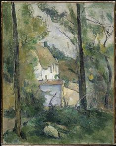 Paul Cézanne-Look a house (Auvers) through trees