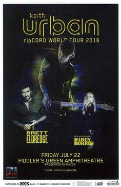 Concert poster for Keith Urban at Fiddler's Greenr in Denver, CO in 2016. 11 x…