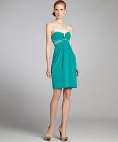 Nicole Miller lagoon stretch silk strapless cocktail dress