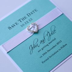 Tiffany Blue Save the Date Crystal heart - Vintage Wedding Stationery Scotland - VOWS Award Nominee 2013