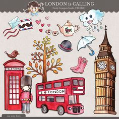 London Is Calling element pack freebie from Nerdy Scrappers Studio