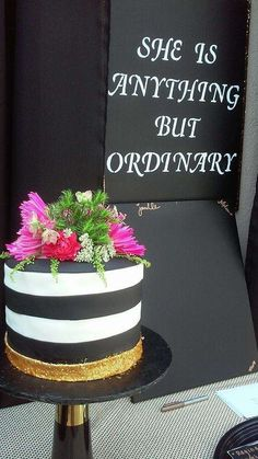 Black & white brunch bridal shower party cake! See more party planning ideas at CatchMyParty.com!