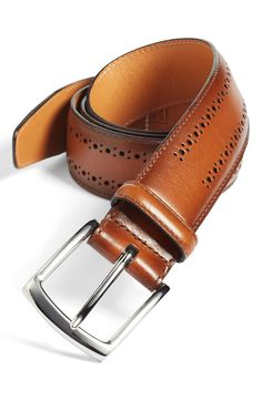 For the guy who has everything| 'Manistee' Brogue Leather Belt