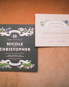 A floral design by Minted was selected for the wedding invitation.