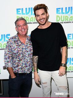 (EXCLUSIVE COVERAGE) Singer Adam Lambert poses with Elvis Duran (left) during 'The Elvis Duran Z100 Morning Show' at Z100 Studio on May 20, 2015 in New York City.  (Photo by Astrid Stawiarz/Getty Images)