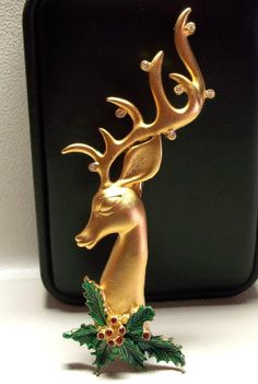 Large Reindeer JJ Xmas Christmas brooch pin jewelry by dollherup, $22.00