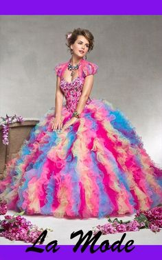 New Stylish Beaded Ball Gown Tulle Sweetheart Two Tone Quinceanera Dress via La Mode. Click on the image to see more!