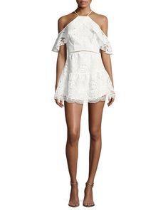 b6747da4f7c7 KARINA GRIMALDI ELLIE LACE COLD-SHOULDER MINI DRESS, WHITE. #karinagrimaldi  #cloth #