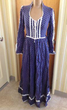Vintage GUNNE SAX 70s Boho GYPSY Hippie Prairie Peasant MAXI Corset Dress Size 9