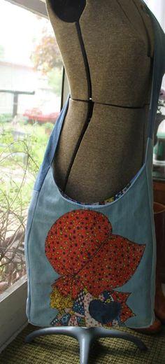 70's Retro Messenger Bag. Cross Body Bag. Authentic Holly Hobbie Fabric.  Holly Hobbie Cut and Sew Applique. $40