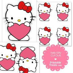 Free Cut Outs of Hello Kitty Holding a Pink Heart from PrintableTreats.com