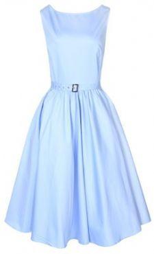 LINDY BOP 'AUDREY' CLASSY VINTAGE STYLE LIGHT BLUE 1950's ROCKABILLY SWING EVENING DRESS