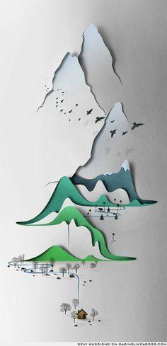 paper cutting art   Amazing paper-cut landscape   Art and images