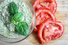 Fresh basil and white beans hummus