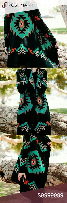 COMING SOON! Sourhwest Aztec Cardigan Sweater with fringe front.  Black,  Turquoise, Red & Khaki colors in this beautiful sweater.  Boho, Bohemian, Western, Hippie.  Available in Small/Medium & Large/Extra Large  $56 (Comment below if you would like to be notified when they arrive.) Boutique  Sweaters Cardigans