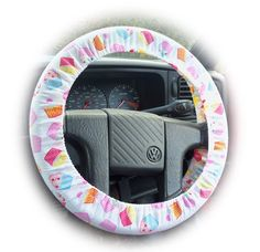 Cupcake print car Steering wheel cover by PoppysCrafts on Etsy, £7.49