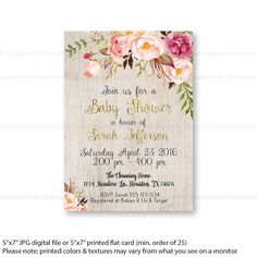 boho baby shower invitations printable, floral baby shower invites for girl or boy, rustic baby shower, flowers watercolor printed invites