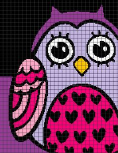 Cute Pink & Purple Owl Crochet Graphghan Pattern (Chart/Graph AND Row-by-Row Written Instructions) — YarnLoveAffair.com