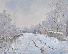 This work is one of 18 snow scenes painted near Monet's home in Argenteuil, north-west of Paris.Snow Scene at Argenteuil, Claude Monet Wassily Kandinsky, Monet Paintings, Impressionist Paintings, Landscape Paintings, Acrylic Paintings, Claude Monet, Painting Snow, Snow Art, Art Japonais