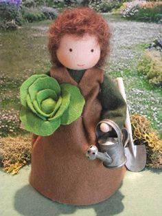 Little gardener Waldorf doll