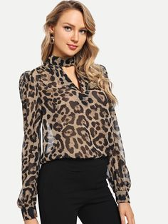 SHEIN Multicolor Office Lady Choker Neck Leopard Print Cut Out Long Sleeve Blouse Autumn Workwear Fashion Women Tops And Blouses Leopard Print Top, Workwear Fashion, Neck Choker, Fall Shirts, Print Chiffon, Chiffon Shirt, Chiffon Tops, Mode Hijab, Blouse Designs