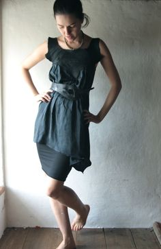 Black Silk dress with Leather yoke - handmade tunic mini dress - LARP asymmetrical elf blouse. €120.00, via Etsy.