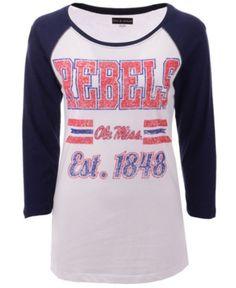a98d8311 5th & Ocean Women's Ole Miss Rebels Team Stripe Raglan T-Shirt - White L