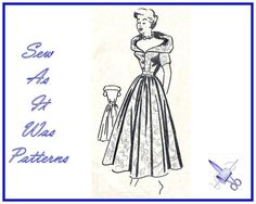 1950s Misses Flared Dress New Unused Wrap by SewAsItWasPatterns