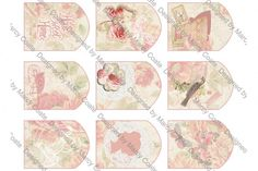 """Printable Cottage Chic vintage style """"shabby"""" collage tags in shades of pink…"""