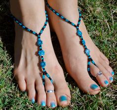 Black and Teal Barefoot Sandals Slave Anklet foot by HouseOfBlaise, $12.00.   Beach shoes??