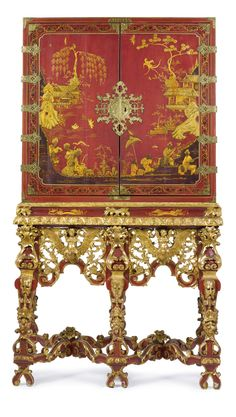A Queen Anne parcel-gilt red-japanned cabinet on stand the cabinet opening to an arrangement of small drawers raised on a stand with concave frieze above a pierced foliate carved apron centered by putti riding winged birds raised on tapering foliate-carved legs headed by masks and ending in shaped feet joined by foliate X-form stretchers. Restorations to decoration. height 6 ft.; width 40 3/4 in.; depth 22 in. / 182.9 x 103.5 x 55.9 cm; SOLD. 43,750 USD