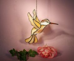 Suncatcher Stained Glass Hummingbird with Ruby Throat  (756) by StainedGlassbyWalter on Etsy