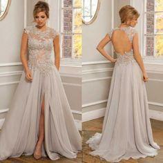Sheer Applique Lace Chiffon Beach Wedding Bridal Gown Dress Custom 4 6 8 10 12 +  | eBay