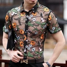 Loldeal Flower Lace Shirt Embroidery See Through Shirt Men Chemise Marque Luxe Mesh Transparent Shirt Summer Short Sleeve Shirt. Pride Outfit, Shirt Embroidery, Flower Embroidery, Embroidery Fashion, Moda Men, Transparent Shirt, Flower Shirt, T Shirt Flowers, Androgynous Fashion