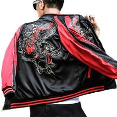 Chinese style dragon embroidered bomber jacket for men cool black jackets XXXL