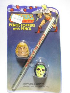 Vintage MOTU Pencil Toppers with Pencil He-Man & Skeletor 1984 #Mattel