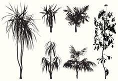 Vectores libres de derechos: Tropical Trees and flowers