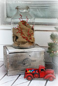 "The Cozy Old ""Farmhouse"": A ""Junky"" Christmas Porch - love the vintage truck with the vintage Christmas bulbs! Christmas Porch, Outdoor Christmas Decorations, Primitive Christmas, Country Christmas, Winter Christmas, All Things Christmas, Vintage Christmas, Christmas Holidays, Christmas Bulbs"