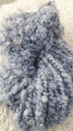 Mohair skein, corespun super bulky art yarn. Denim blue with gorgeous mohair from my goat 'Frank' 😊💕🐐