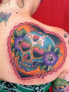The perfect sugar skull tattoo, from Mimsy's Trailer Park Tattoo