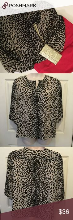 """Talbots Animal Print Blouse 18 No stretch poly. Covered front buttons, elbow length sleeves. 22"""" across chest. 27"""" length. EUC Talbots Tops Blouses"""