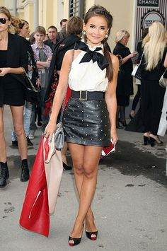 Miroslava Duma in a gold-studded leather mini and a girly blouse http://www.studentrate.com/fashion/fashion.aspx