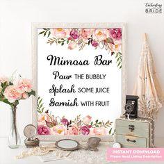 Mimosa Bar Sign - Boho Bridal Shower Decor, Bubbly Bar, Bridal Brunch, Pink Flower Garden Theme, Floral Bachelorette Party Printable FL1