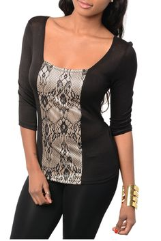 Black Taupe Romantic Sheer Lace Tie Back Top