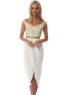 Virgos Lounge Ivory Wrap Front Juliana Midi Dress